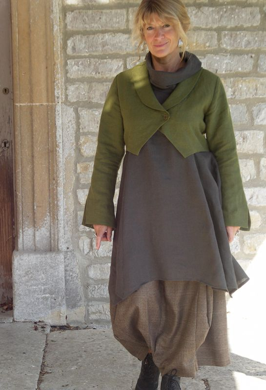 Lagenlook: Bolero Jacket in linen £225, over Roll Neck Tunic £215 over Bubble skirt in wool £245. The colors!