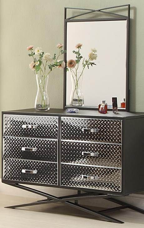 Spaced Out Gray Metal Glass Dresser