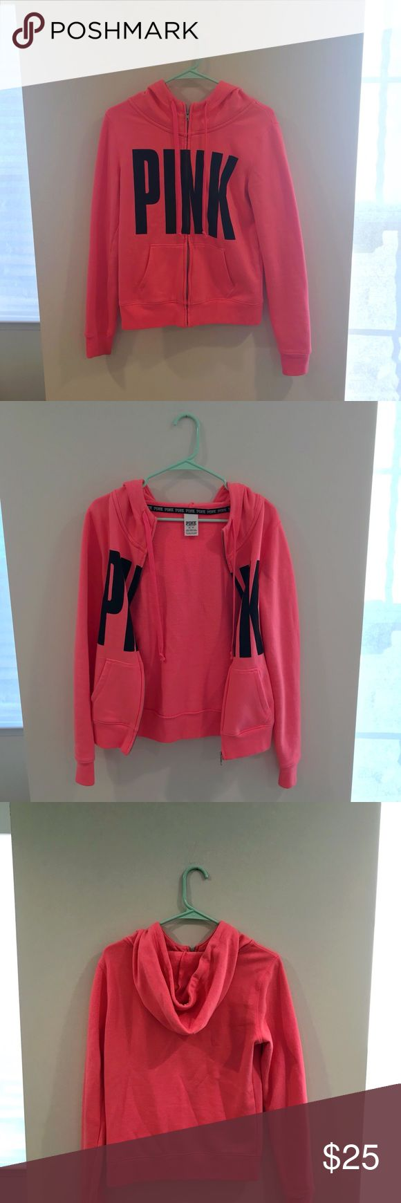 Victoria's Secret PINK hot pink zip up hoodie Victoria's Secret PINK hot pink zip up hoodie in size XS. Super cozy and very warm. Lightly worn and the color is very vibrant. 60% cotton, 40% polyester. PINK Victoria's Secret Tops Sweatshirts & Hoodies