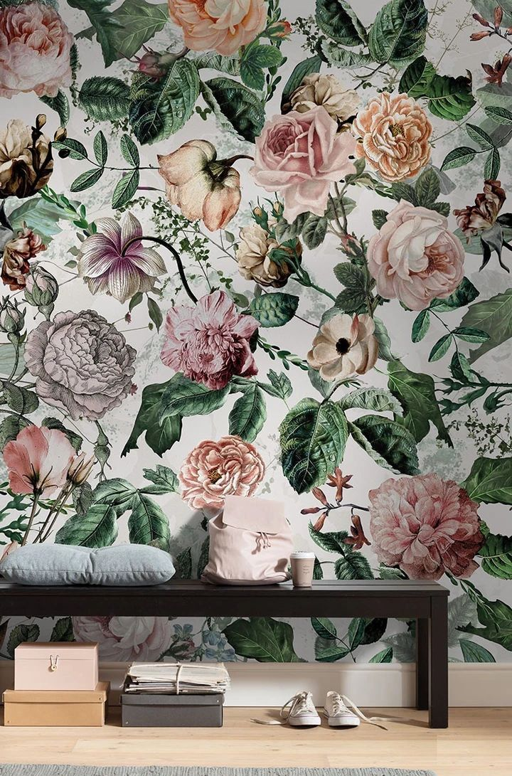 Floral wallpaper mural. Non-woven wall mural in standard sizes or custom made mural. The Full Bloom Mural Wallpaper is a stunning piece of nature inspired wall art. Shipping worldwide.