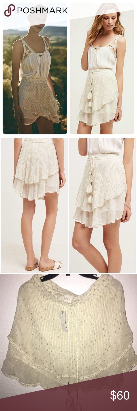 """BNWT Anthropolgie Tryb Skirt This is a NWT Anthropologie brand """"Tryb""""  the Primrose Skirt. I bought it without trying on and it doesn't suit me, then I forgot to return! My $118 loss your gain!! It's gorgeous and would fit a 8-10 in my opinion though there is no official size other than L, also I believe the waistband runs smaller like an M.❗️Price is firm. I will not measure. No Trades!❗️✔️Offers ok! No lowballing 😘 read my closet rules for more info on my policies.☺️❤ Anthropologie Skirts"""