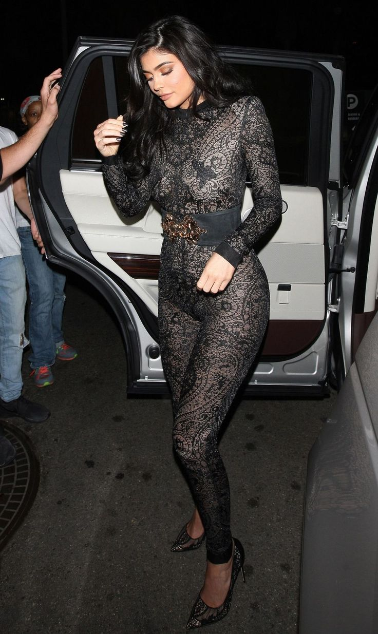 Kylie Jenner Wears Naked Lace Jumpsuit - Kylie Jenner 19th Birthday Party
