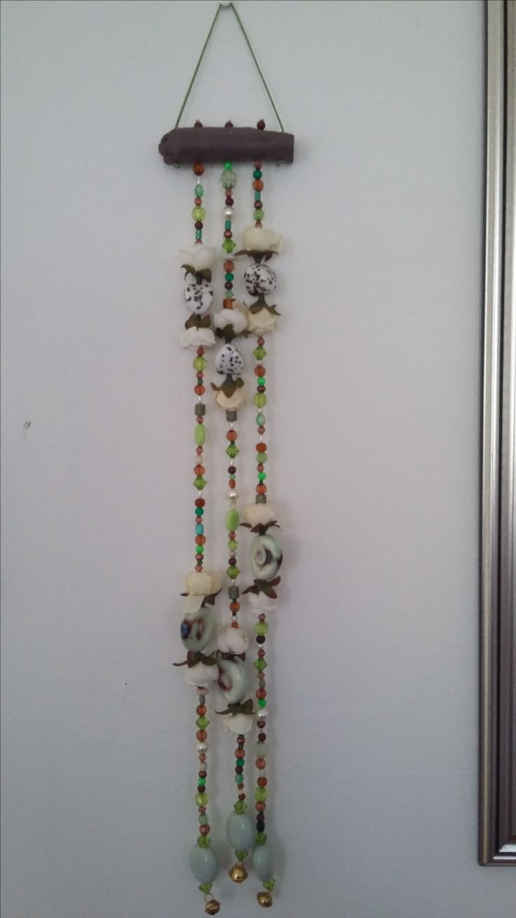 Fifi flower wind chime in greens and browns <3