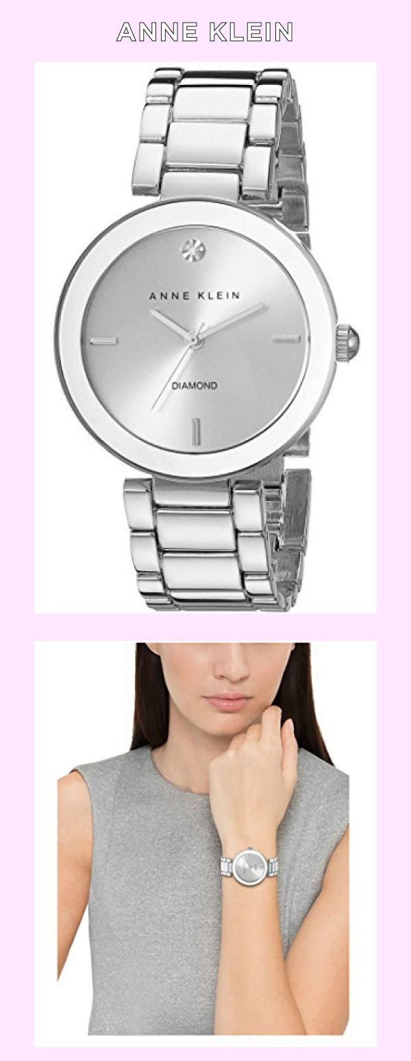 Anne Klein Women's AK/1363SVSV Diamond Dial Silver-Tone Bracelet Watch Made by #Anne Klein Color #Silver. Round watch featuring minimalist dial with diamond at 12 o'clock and three stick indices. 32 mm silver-tone case with mineral dial window. Japanese quartz movement with analog display. Alloy link bracelet with jewelry-clasp closure. Not water resistant