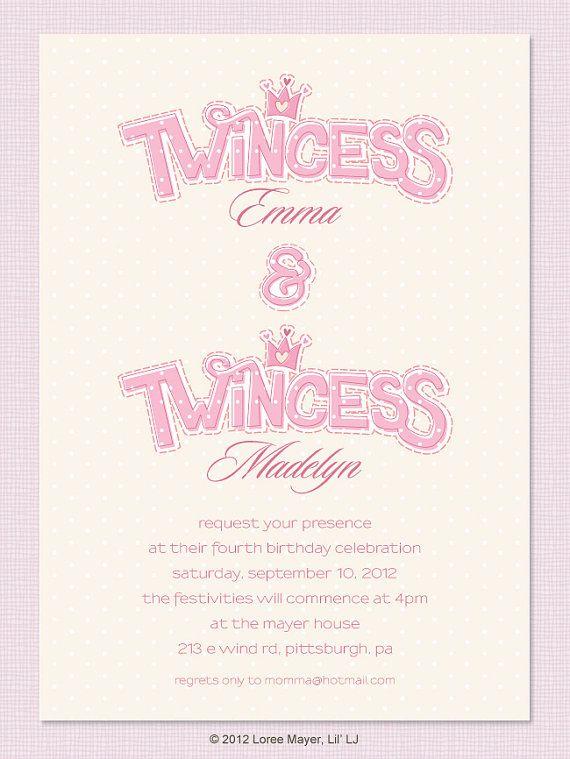 Printable Twincess Birthday Invitation for Twin Girls