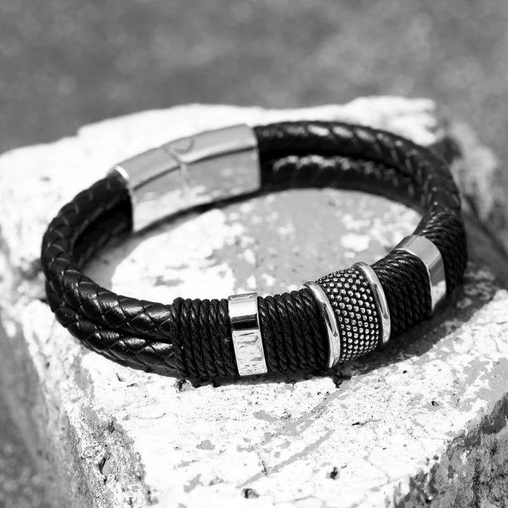 Genuine Leather Homme Double Layer Magnet Buckle Men Bracelets – LABONNI   – Bracelets for Men