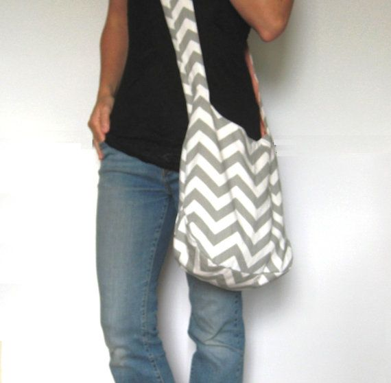 Cross Body Hobo Bag. Chevron Purse. Gray and White Zig Zag Stripes. Reversible Fabric Purse Coordinate with Bold Solid Colors. Fall Line. on Etsy, $44.00