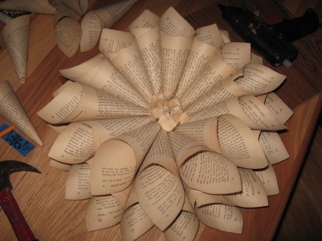 Old book pages wreath