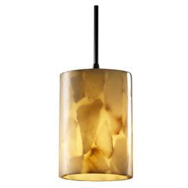 Pendant with an alabaster rock and resin shade.  $97 Product: Pendant  Construction Material: Resin and alabaster rock  Color: Aged bronze and cream  Features: Suitable for damp locations  Will enhance any décor  Accommodates: (1) 40 Watt torpedo BA-9 incandescent bulb - not included   Dimensions: 5.5 H x 4 Diameter