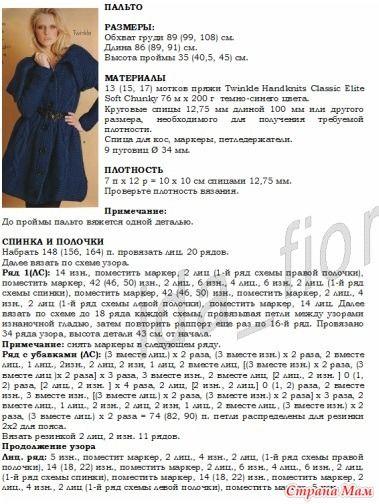 . Синее пальто с описанием - Вязание - Страна Мам