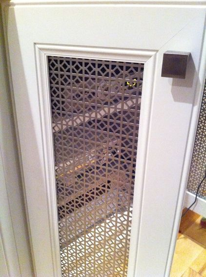 remove center doors on cabinet replace with perforated metal panels-ventilation