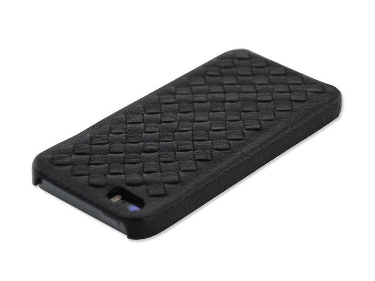 Luxe hardcover snap case hoesje iPhone 5/5S Gevlochten PU Leder zwart