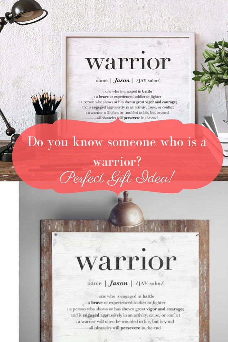 Do you know someone who would love to be inspired? A nice simple gift with meaning to them? Warrior Sign, Custom Name Sign, Personalized Friend Gift, Inspirational Quote Wall Art, Cancer Survivor Gift, Man Cave Sign, PRINTABLE SIGN #frame #ad #warrior #home #homedesign #inspiration #gifts #motivation