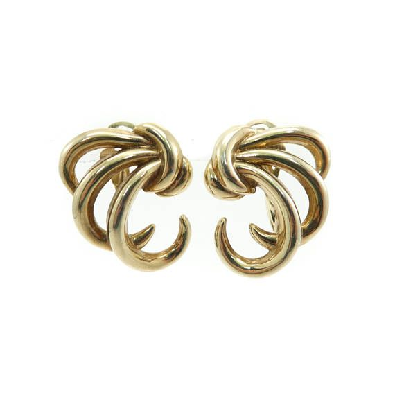 Vintage Trifari Earrings Swirls Gold Tone Clip Ons Signed