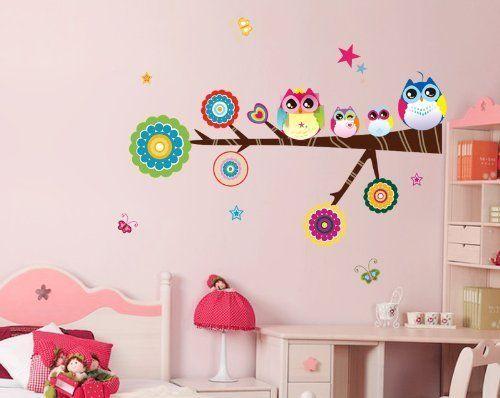 libre voluntad colorful bhos en la rama de rbol vinilo de pared adhesivos adhesivo para guardera