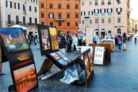 Artisti di strada a piazza Navona