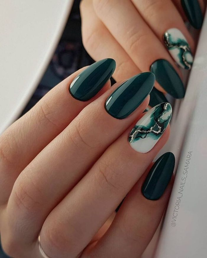 Almond Nails Fall Nail Colors Dark Green Nails Black Gold Glitter Green Marble In 2020 Green Nail Designs Green Nails Fall Acrylic Nails