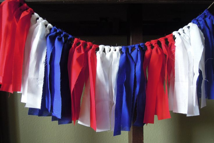 Red White and Blue, American Flag, Fourth of July, Fabric Banner, Birthday, Highchair, Nursery, Cake Smash, Photo Shoot, Back Drop, Rag Tie by Pumpkinseedscreation on Etsy