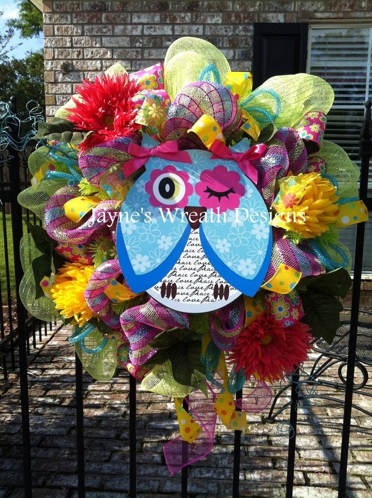 Whimsical Owl Wreath