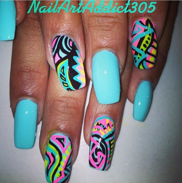 Nail art square turquoise graffiti nails blue pink black green