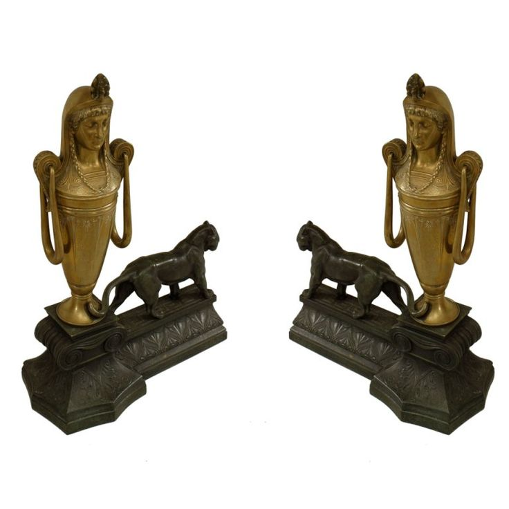 French Empire Egyptian Style Andirons 1