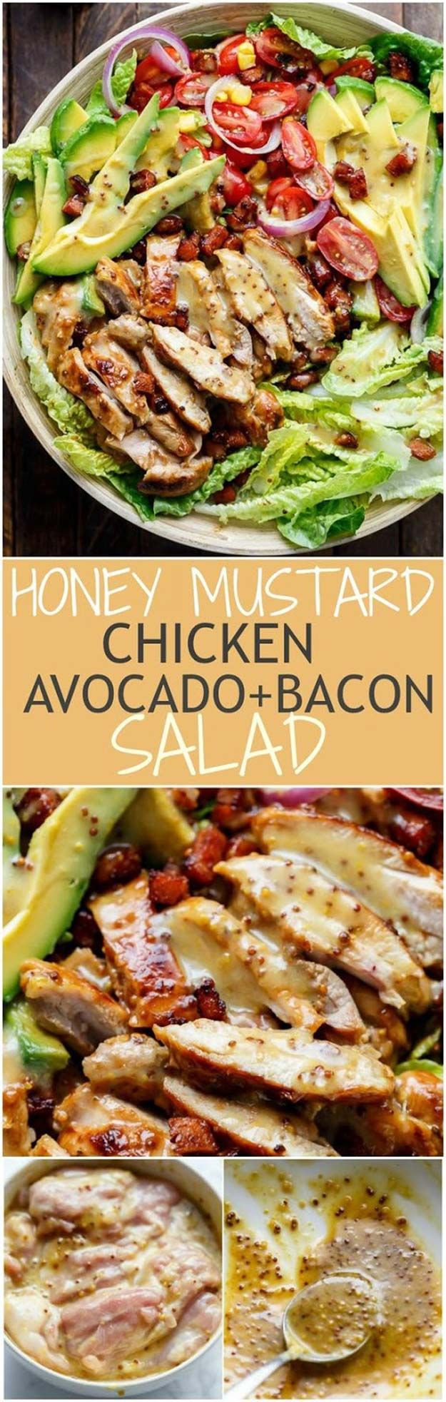 Healthy Avocado Recipes - Honey Mustard Chicken, Avocado + Bacon Salad - Easy Clean Eating Recipes for Breakfast, Lunches, Dinner and even Desserts - Low Carb Vegetarian Snacks, Dip, Smothie Ideas and All Sorts of Diets - Get Your Fitness in Order with these awesome Paleo Detox Plans - thegoddess.com/healthy-avocado-recipes