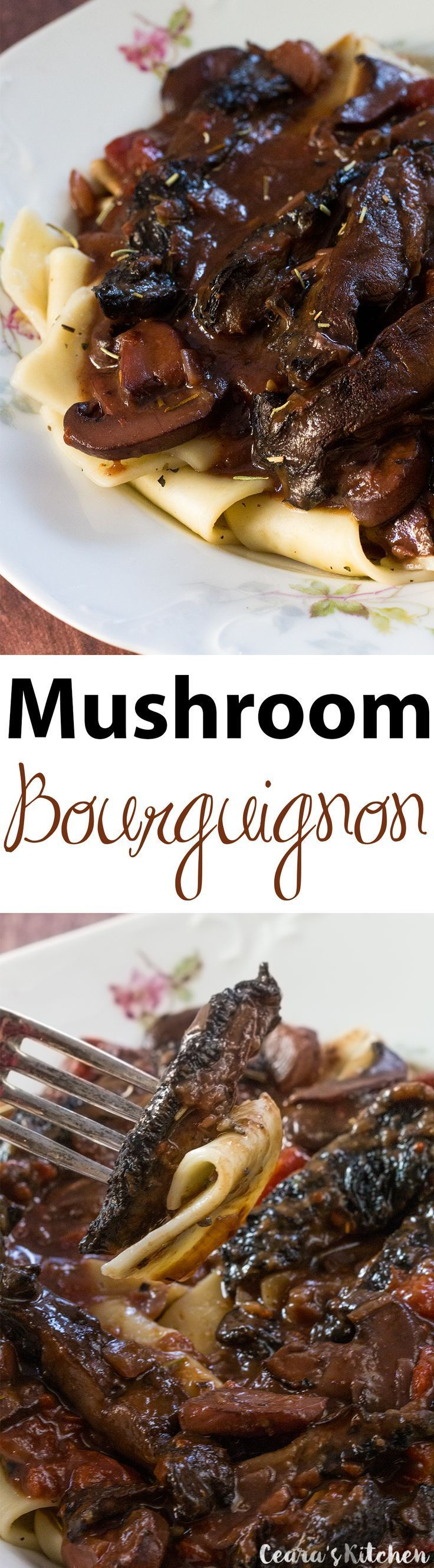 Vegan Beef Bourguignon made with a hearty, meaty & incredibly flavorful mushroom and and red wine sauce. Serve over pasta or potatoes and with fresh bread for the perfect, rustic meal! #Vegan #BeefBourguignon