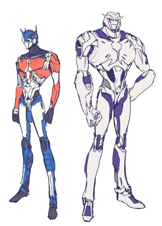 Hella skinny versions of Megatron And Optimus instead of them usual ...