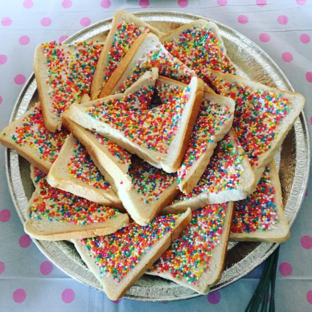 Fairy bread is an Australian staple. Basically, it's just white bread covered in butter and sprinkles, which is as perfect as it sounds.