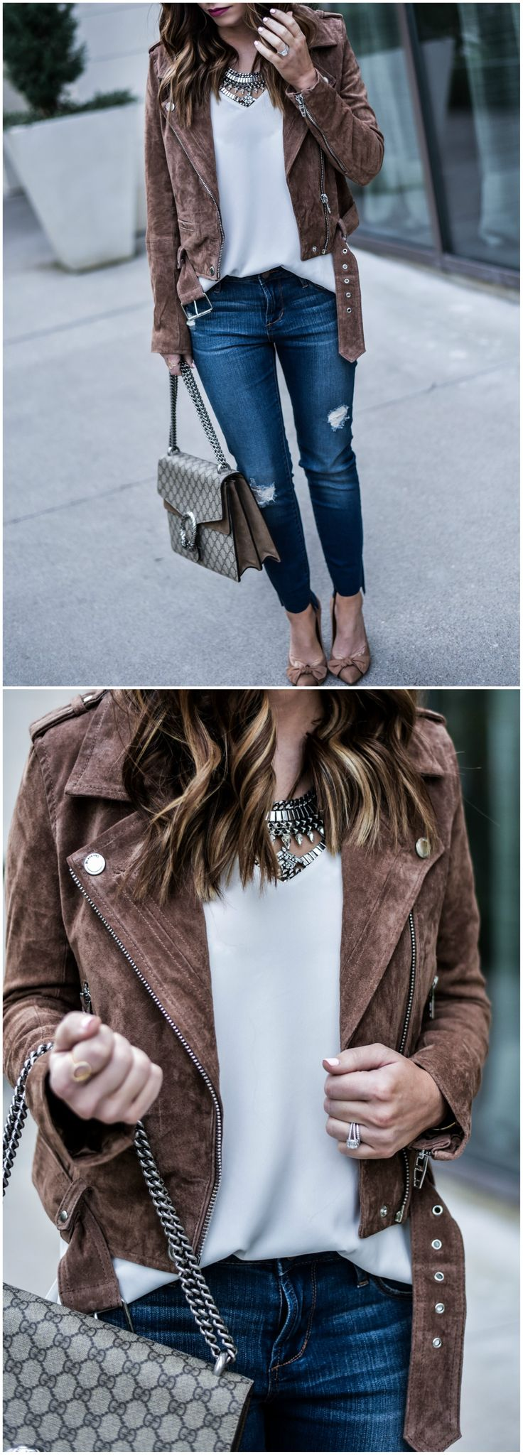 Tiffany Jais a Houston Style blogger is wearing a suede moto jacket by Blank NYC and Staggered hem jeans from Nordstrom, along with her favorite Gucci Dionysus bag |