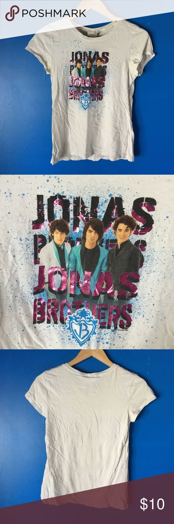 {Girls} Limited Too | White Jonas Brothers Tee Shirt features Nick Jonas, Joe Jonas (now lead singer for DNCE) and Kevin Jones. White tee shirt. Brand is Limited Too. Size girls 18 Like new condition no stains, rips or holes. 100% Cotton. Limited Too Shirts & Tops Tees - Short Sleeve