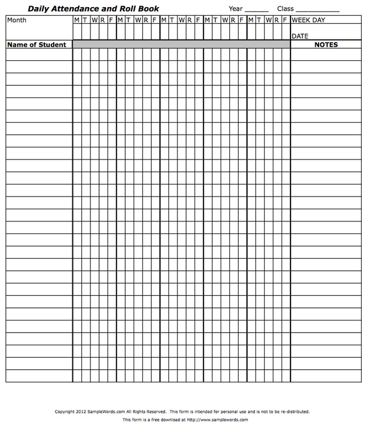 Teacher Attendance book roll call for use in keeping daily classroom attendance records for teachers.