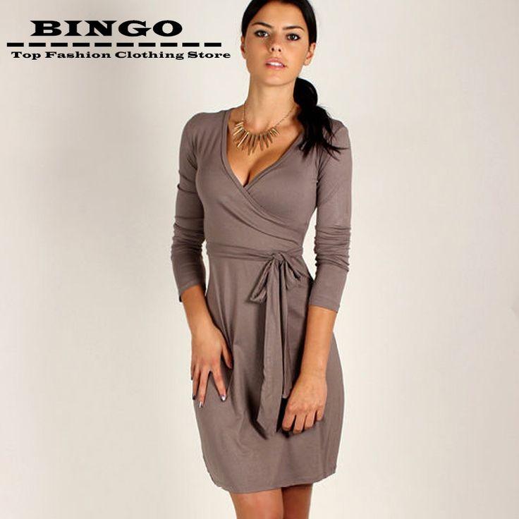 New Long Sleeve V Neck Women Office Work Dress Ladies Robe Casual Summer  Dresses Plus Size Sheath
