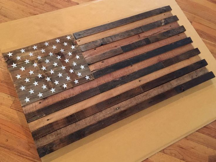 """Reclaimed pallet american flag hanging wall art 42"""" wide x 22"""" tall Natural #Handmade #RusticPrimitive"""