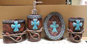 Western Turquoise Cross with Rope Bathroom Vanity Set