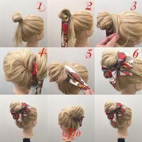 スカーフを使ったメッシーバン✨ 1,輪っかを作ってお団子を作りす 2,輪っかの中にスカーフを通します 3,余ってる毛先をゴムに巻きつけます 4,巻きつけたらピンで留めます 5,スカーフをお団子の根元に一回巻きつけます 6,蝶々結びを作ります Fin,崩したら完成です 参考になれば嬉しいです^ ^