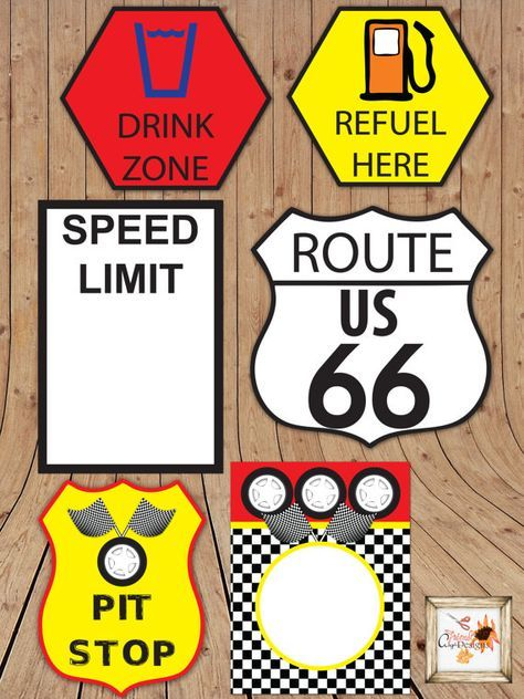 FREE Printables: Disney Pixar Cars themed birthday party printables featuring checkered patterns, lightning bolts, tire marks, flames, and car emblems!