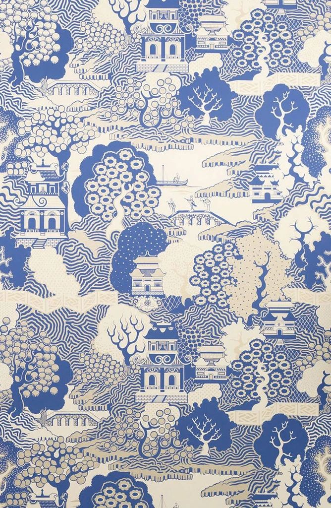 Summer Palace originates from Osborne and Little's earliest hand printed designs. Visually engaging yet simple in monochrome and metallic, this Chinoiserie landscape is evocative of willow pattern porcelain. This graphic style has been popular in Englan Scenic Wallpaper, Wall Wallpaper, Wallpaper Ideas, Luz Natural, Osborne And Little, Chinoiserie Wallpaper, Willow Pattern, Summer Palace, Inspirational Wallpapers