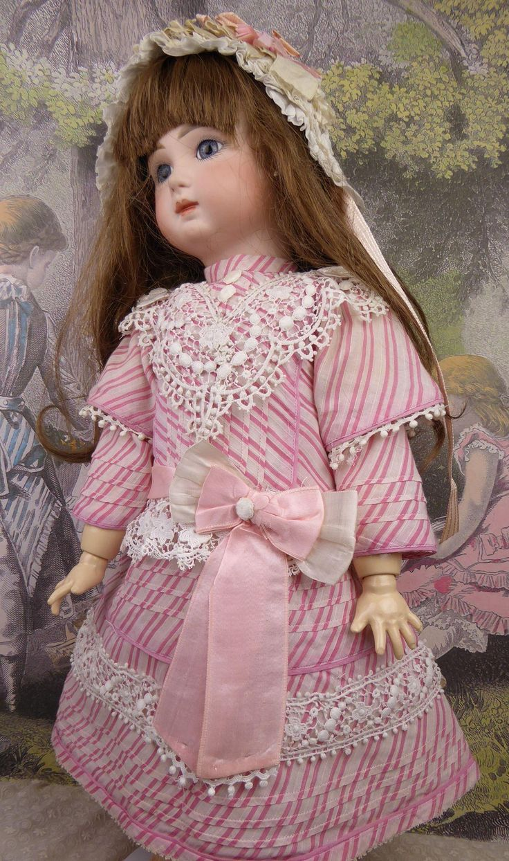Wonderful French pink striped and tucked fine cotton antique dolls from stairwaytothepast on Ruby Lane