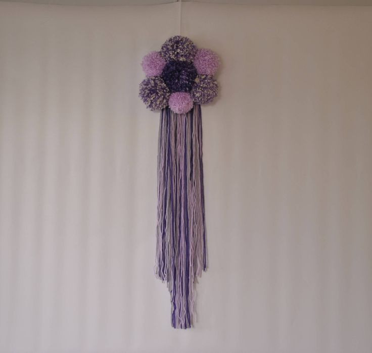 Wall hanging, purple/mauve cloud pom pom boho fringe yarn hanging, fibre art wall hanging, pom pom, shabby chic, nursery decor, photo prop by pamelasunshinedesign on Etsy