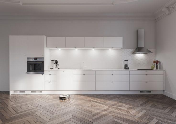 Vaaleat pinnat yhdistyvät tässä keittiössä ruostumattomasta teräksestä valmistettuun uuniin ja liesituulettimeen, mikä antaa pelkistetyn ja tyylikkään vaikutelman. Valkoinen Viva-keittiö tarjoaa loputtomia valintamahdollisuuksia: valitse puhtaan valkoiset tai kauden väreissä hohtavat pinnat.