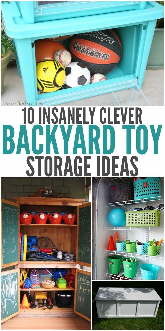 10 Insanely Clever Backyard Toy Storage Ideas Kidstoystorage Backyard Toys Outdoor Toy Storage Backyard Storage