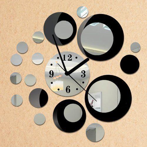 cool FunD DIY Decorative Mirror Wall Clock Removable Wall Sticker Decoration
