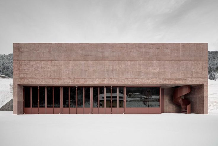 Rose Tinted Concrete Fire Station by Pedevilla Architects | http://www.yellowtrace.com.au/pedevilla-architects-rose-tinted-concrete-fire-station/