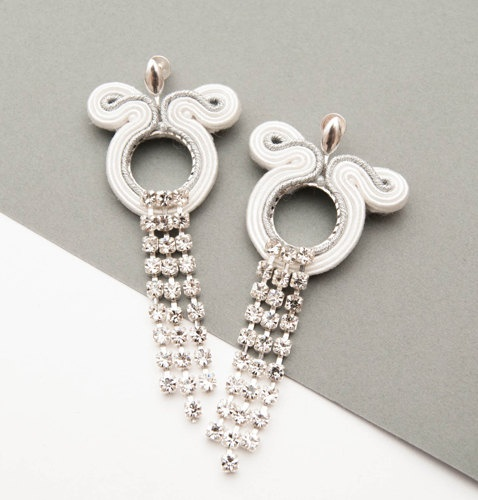 Chain wedding earrings - white silver with zircon, soutache and sterling silver earstuds