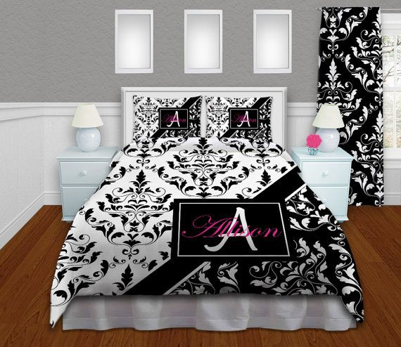 Comforters Bedding Sets, King Sized Bedding, Queen, Twin XL, Black and White Bedding, Damask Bedding, Monogrammed Comforters, Dorm Size #38