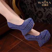 Recién llegado caliente moda Sexy alta carrete tacones altos plataforma de PU punta redonda de Metal caliente de perforación de diamantes costosos para zapatos impermeables