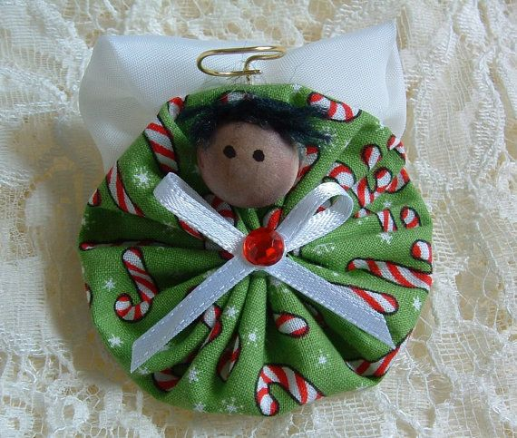 Homemade Angel Christmas Ornaments | Christmas Angel Pin Handmade Fabric Yoyo by HillbillyLaceEtc