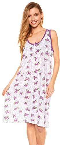 Womens Nightgown Sleeveless Cotton Pajamas - Sleepwear Nightshirt (M, Purple-908)  BREATHABLE AND SKIN-FRIENDLY: Made of 100% cotton, which is the most breathable fabric, this beautiful womens nightie ensures a good nighs sleep, shielding the body from heat in the summer and protecting it from cold in the winter. Soft cotton, which feels great to touch and even greater to wear.  COMFY IN YOUR NIGHTSHIRT: The soft and lightweight top quality cotton, make this scoop neck sleep shirt the ...
