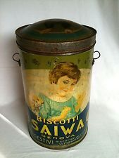 Biscotti SAIWA/1910/Rarissimo Bidone 54 CM Scatola di Latta Blechdose Tin Box